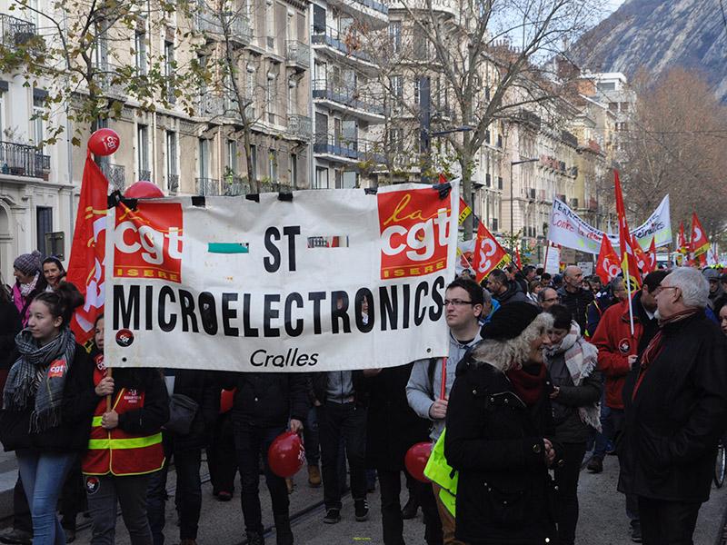 ST Micros. Temps fort de la grève le jeudi 12 novembre